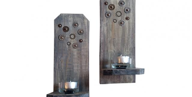 Wood and Gear candle holders