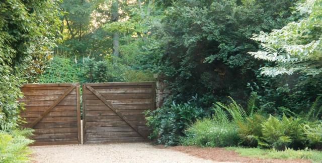 Yard with wooden fence with trees for privacy