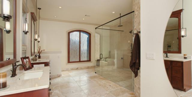 Zero entry bathroom design