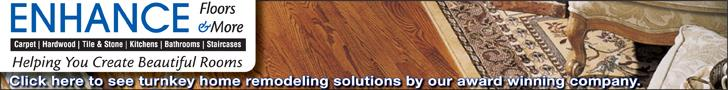 Enhance Floors & More promotion shows hardwood floor with an oriental rug