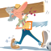 Illustration of a handyman about to step on a ball