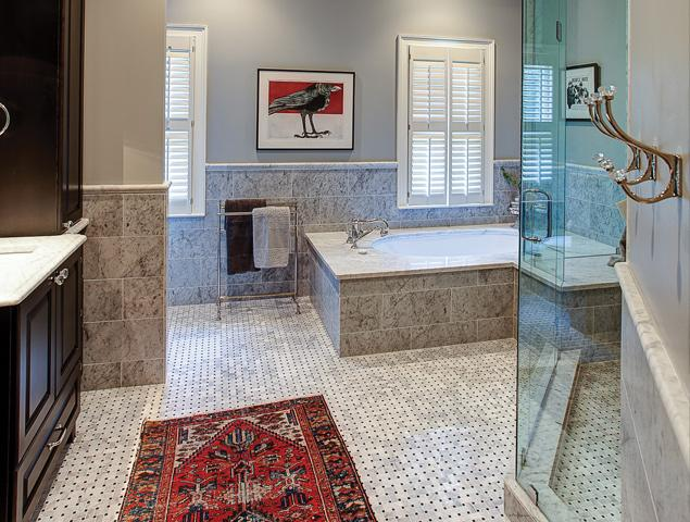 Full view of updated and remodeled bathroom