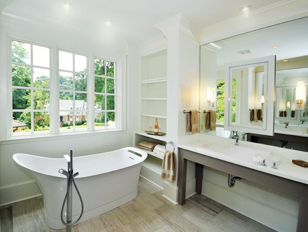 Modern updated tub with shelving