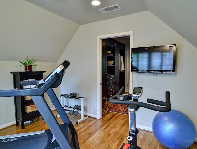 Exercise room off of walk-in closet