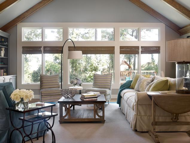 Large windows in the family room.