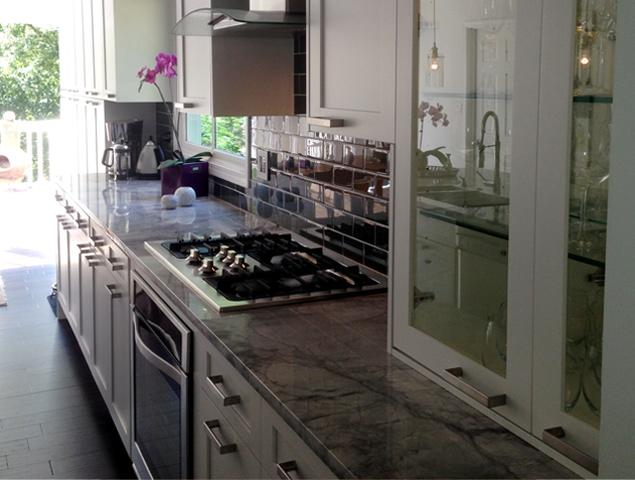 Close up of kitchen countertop and appliances