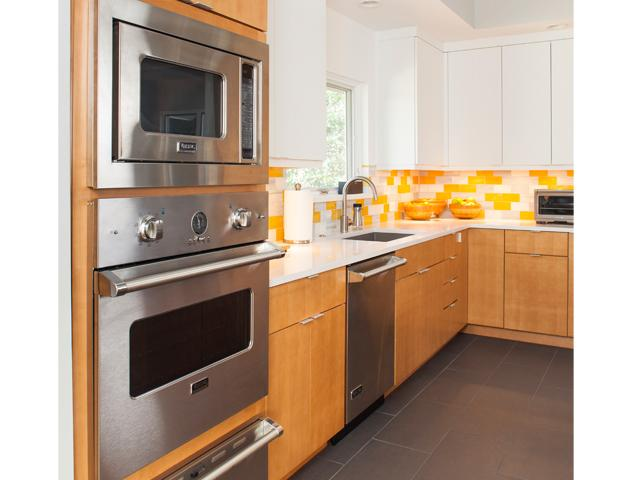 Close up view of kitchen and appliances