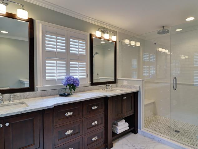 Spacious view of the master bathroom