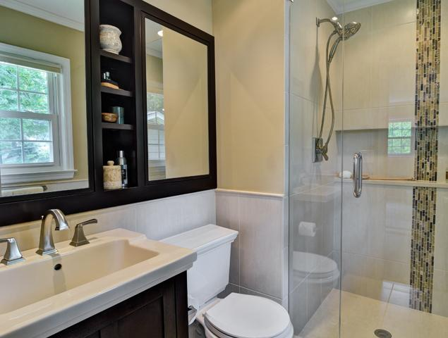 Full view of entire updated bathroom