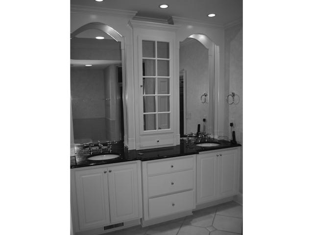 View of vanity and countertops in previous bathroom