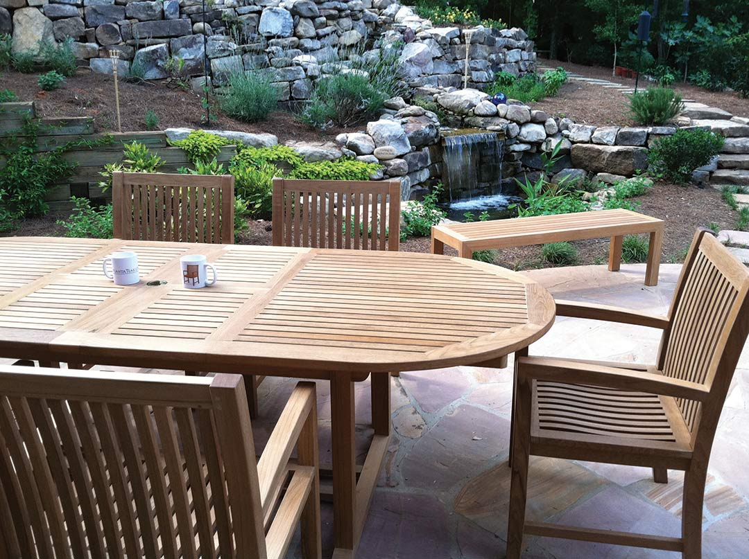 Beautiful Landscape With Outdoor Teak Furniture   Dining Table And Chairs