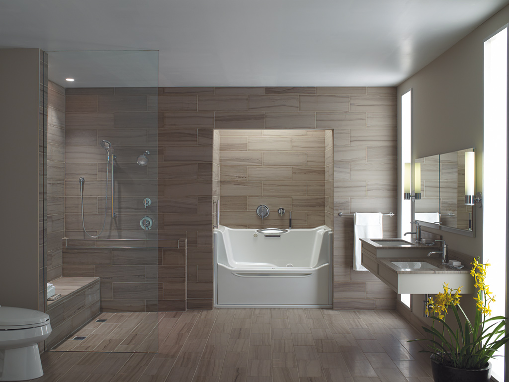 bathroom with elongated toilet curbless shower non slip surface walk in - Universal Design Bathrooms