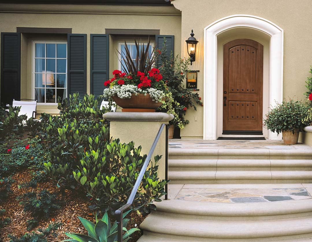 Home Exterior   Beautiful Curb Appeal With Planters, Container Garden  Plants, Wooden Front Door
